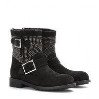 jimmy choo - youth studded suede biker boots