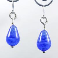 Blue Glass Earrings Royal Swirl Teardrop Lampwork Beads made with Sterling Silver findings