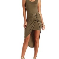Knotted Asymmetrical Bodycon Dress by Charlotte Russe - Olive