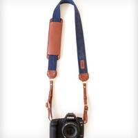 Canvas & Leather Camera Strap – Navy