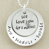 Grandma Necklace - hand stamped sterling silver with children's names - personalized necklace jewelry - Christina Guenther