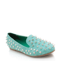 spiked-leather-loafers BLACK SEAGREEN - GoJane.com