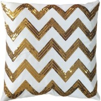 "Decorative Sequins Zig-Zag Pattern Throw Pillow COVER 18"" Gold"