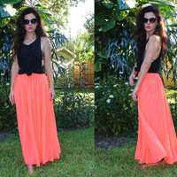 Neon Coral Sheer Maxi Skirt