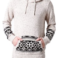 On The Byas Colby Printed Pullover Sweater - Mens Sweater - White - Medium