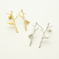 Bird on Twig Long Stud Earrings / love birdie on twig long earrings, bird branch earrings, long bird earring / E086
