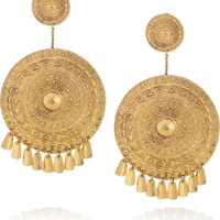 Aurlie Bidermann|Pachacamac 18-karat gold-plated medallion clip earrings|NET-A-PORTER.COM