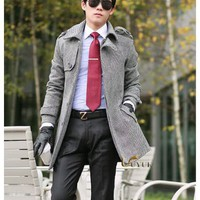 Korean Style Mens Slim Waist Gray Wool & Blends Parkas S/M/L @6282