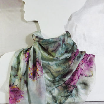 """Silk Scarf Hand-Painted """"Misty Morning Roses"""". Long Fashion Floral Summer Shawl. Pink flowers, pale green, white. Ready. 149x45cm, 59x18"""""""