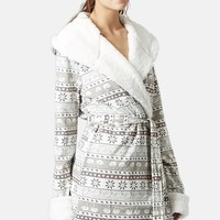Women's Topshop Fair Isle Fleece Robe