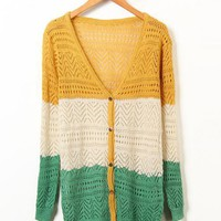 Yellow Hollow V-neck Knit Cardigan$42.00