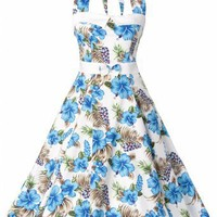 Collectif Clothing - 50s Stella Sweetheart Doll Blue Hibiscus swing dress