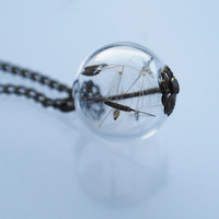 Mini Dandelion Necklace Make A Wish Glass Bead Orb Bronze Necklace Botanical  Globe Beadwork