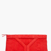 Yves Saint-laurent Snake Suede Y Clutch for women