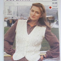Vintage vest knitting pattern, women sleeveless vest with cables and buttons 80s