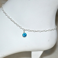 Delicate sterling silver adjustable anklet-beach wedding jewelry