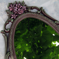 Vintage Syroco Floral Mirror Chocolate Brown Pink Green