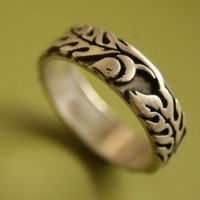 Wide Silver Oak Ring by sudlow on Etsy