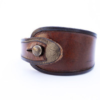 Hand Carved Leather Wristband, Mahogany Brown with Black Trim