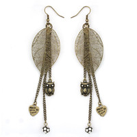333524-EE59257-001-Antiqued Gold Leaf &amp; Owl Earrings