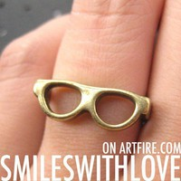 Glasses Shades Spectacles Ring in Bronze - Sizes 4 and 5