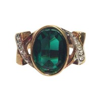 Pre-owned Lind Gold & Green Ring