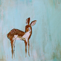 My Baby Deer (8x10 print, fawn with spots on aqua background for babys room)