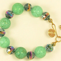 Crackled Green Ball Bracelet,  Blue Iridescent Crystals Bracelet, Green Blue Crystal Wedding Bracelet