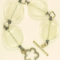 Clear Frosted Glass Bracelet, Clear Disc Bracelet