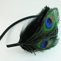 Midnight Black Peacock Headband, hair fascinator, peacock feather headband, feather accessory