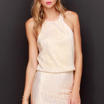 Tiny Dazzler Gold Halter Dress