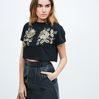 Minkpink Shanghai Crop Tee in Black and Gold - Urban Outfitters