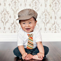 Spring Baby Boy Tie Onesuit  - children, custom baby clothing sizes nb-18m Stripes, Argyle, Guitar, Dots, Damask, Gingham