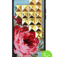 Blue Floral Gold Pyramid iPhone 5c Case - iPhone 5c