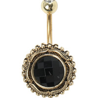 14G Steel Black And Gold Navel Barbell