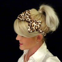 Leopard print satin charmeuse bow stretch headband pinup/retro/feminine