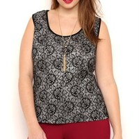 Plus Size Sleeveless Glitter Lace Tank Top with Cage Back and Zipper