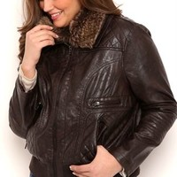 Plus Size Quilted Faux Leather Bomber Jacket with Fur Collar and