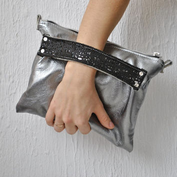 Silver Crossbody leather  bag/ Silver Clutch/ Bridesmaid Bag/ Leather wallet / Purse Bag/ Birthday / Party