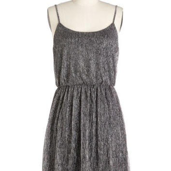 ModCloth Mid-length Spaghetti Straps A-line Silver and Behold Dress