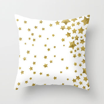 Starry Magic - White Throw Pillow by Lisa Argyropoulos