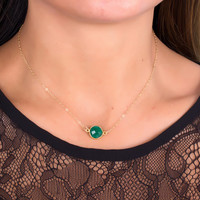"Emerald Necklace, bridesmaid necklace, May Birthstone necklace, genuine green emerald pendant, gold necklace, stone necklace, ""Phasis"""