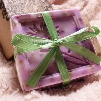 Handmade Shea Butter Soap, Lavender Oatmeal with Lavender Blossoms & Oatmeal Grains