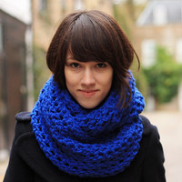 Circle Scarf Infinity Scarf Snood Royal Blue Autumn Scarf