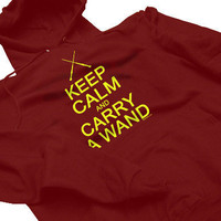 Keep Calm And Carry A Wand Harry Potter Geek Wizard Humor Hoodie Your Choice of S,M,L,XL,2XL