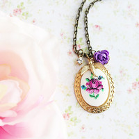 Purple Rose Cameo Charm Necklace.  Vintage. Bridesmaids Necklaces. Fall Wedding. Autumn. Favors.  Romantic