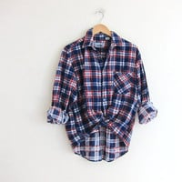 Vintage boyfriend flannel / blue and red plaid shirt / grunge shirt / washout