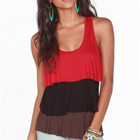 A'GACI Colorblock Tiered Tank - TOPS