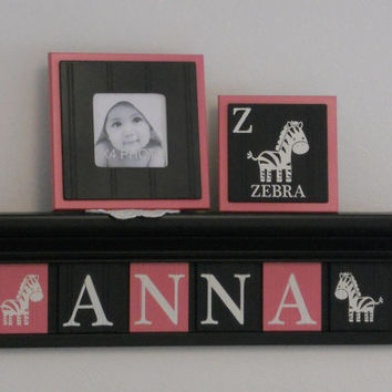 """Zoo Animal Nursery, Zoo Sign 6 Letters, Personalized Zoo Decor Pink / Black, Baby Name ANNA with Zebras 24"""" Black Zoo Shelf Custom Zoo Gifts"""