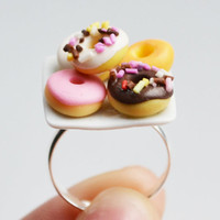 Doughnut Donut Ring, Miniature, Fimo, Polymer Clay